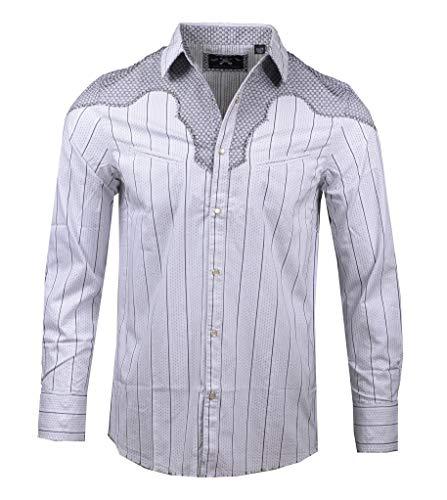 - Men's Western 'County Bars' Long Sleeve Button Down White Shirt 379W (Medium)
