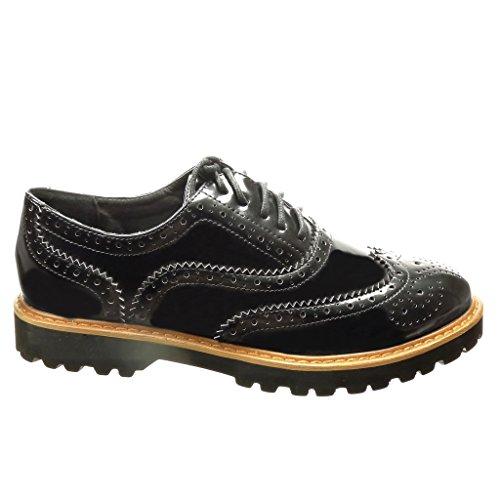 Tacón cm 5 Derby Ancho Acento Zapato Mujer Perforado Angkorly Zapato 2 Negro Patentes cm Moda Zapatillas qp1xzF