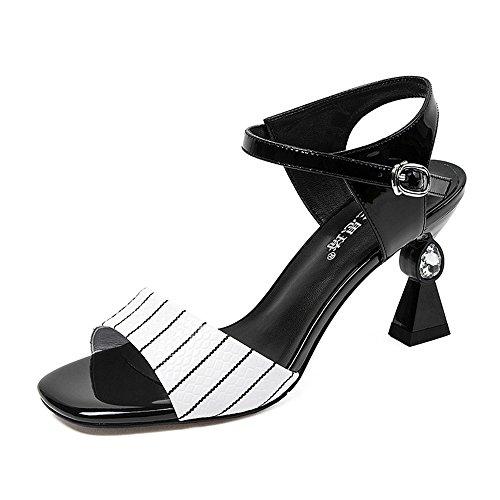 Sandals ZHIRONG Summer Women's High Heel Open Toe Rhinestone Colorblock Fish Mouth Shoes Roman Shoes 7.6CM (Color : EU38/UK5.5/CN38) Eu36/Uk4/Cn36