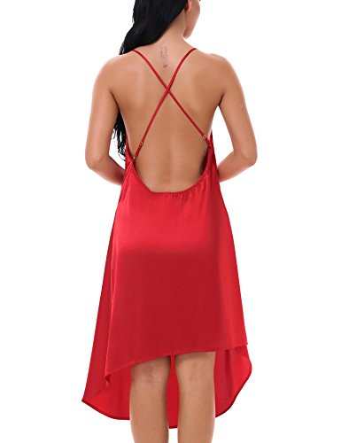 Yulee Womens Satin Cami Sleeping Gown Chemise Sleep Shirt Plus Size Red, XXL