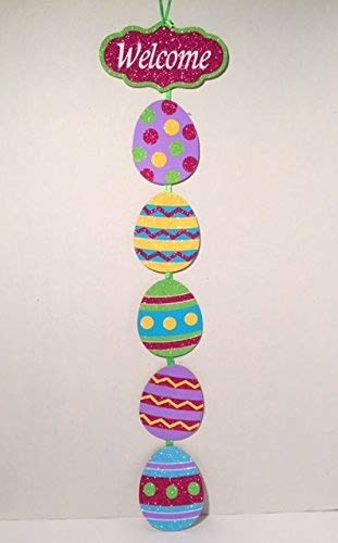 Easter Eggs Glittered Welcome Decorative Hanging Ornament Bright Green Pink Purple Blue And Yellow