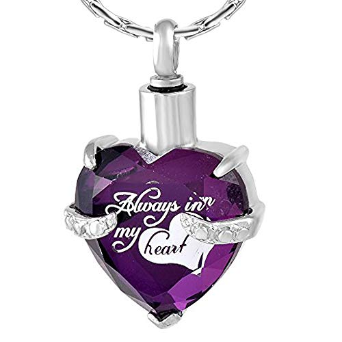 - constantlife Cremation Jewelry for Ashes, Heart Shape Memorial Urn Necklace Stainless Steel Crystal Glass Pendant Ashes Holder Keepsake for Women (Z-Purple)