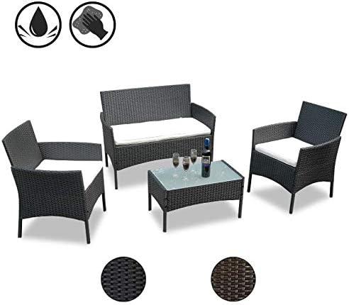 Hengda Conjunto Muebles de jardín Muebles Ratán Juego para Terraza o Balcón Sofá 2 Plazas + 2 Sillones + Mesa - Negro: Amazon.es: Jardín