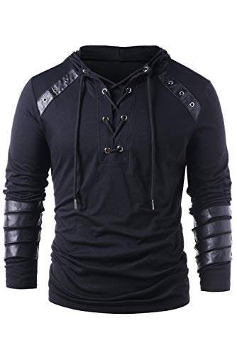 - Men's Gothic Steampunk Shirts Sweatshirt Lace Up Long Sleeve Pullover Hooded Tee Tops Black