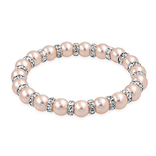 Bling Jewelry Light Pink Simulated Pearl Stackable Strand Stretch Bracelet for Women White Crystal Rondelle Spacer Silver Plated Brass