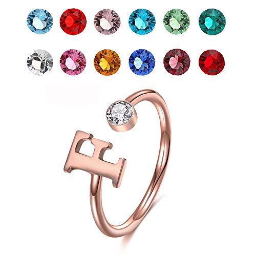 925 Sterling Silver Personalized Initial Name Ring with Simulated Birthstone Cusotm Initial Alphabet Letter Adjustable Size Stackable CZ End Wrap Open Ring (Rose Gold)