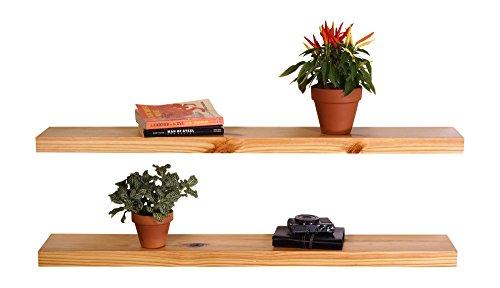 36in Kitchen Shelves (DAKODA LOVE Clean Edge Floating Shelves, USA Handmade, Clear Coat Finish, 100% Countersunk Hidden Floating Shelf Brackets, Beautiful Grain Pine Wood Wall Decor (Set of 2) (36