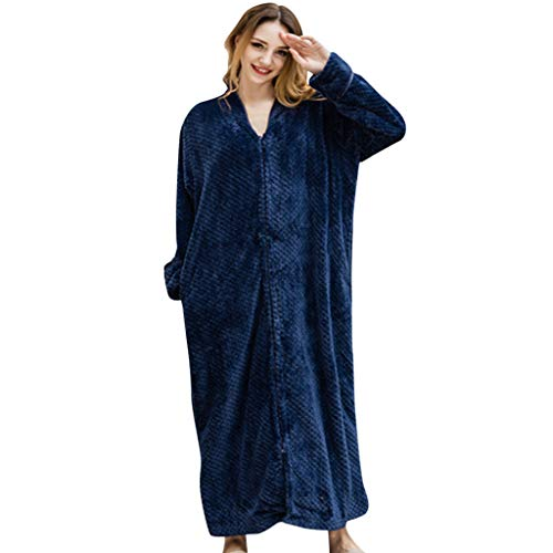 POQOQ Sleepwear Dress Fleece Ladies Soft Tie Gown Long Marks and Spencer Robe M -