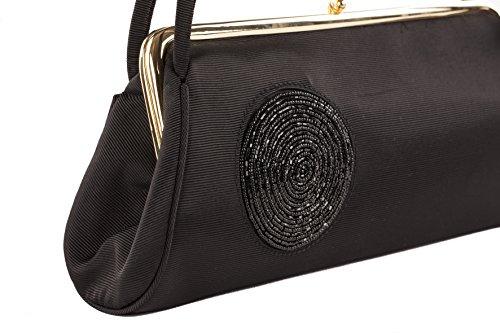 Pochette AC 321 Nero, borsetta in tessuto con decorazione in jaiss