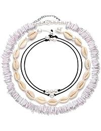 4 Pcs Shell Choker Necklace Puka Chips 14 16 18 inch Seashell Short Hawaiian Boho Summer Beach Bohemia Jewelry Set Hawaii Wakiki Cowrie Beads Cord Pearls Pendants for Women Girls Adjustable Necklaces