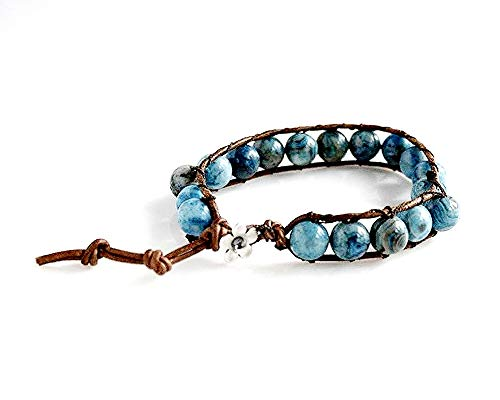 (Brown Genuine Leather Wrap Bracelet with Blue Crazy Lace Agate Gemstones and Antiqued-Silver Pewter Flower Button Closure)