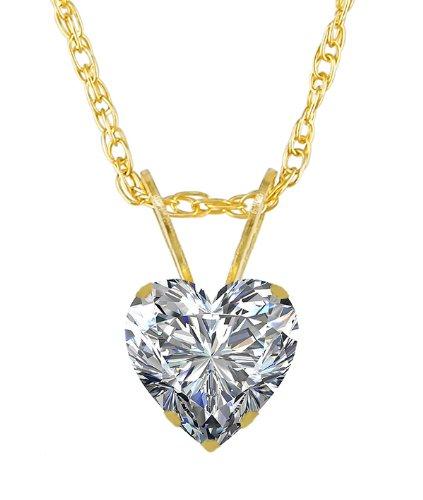 14k Yellow Gold High Polish 1.00 Carat Cz Cubic Zirconia Heart Shape 6.50 Mm Charm Pendant Necklace
