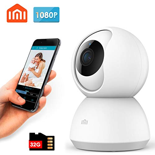 xiaomi 1080P Wireless Smart Home Security Camera with SD Card 32GB,MI WiFi Surveillance Baby Indoor Camera,2.4Ghz WiFi Pet Dome Camera with Pan/Tilt,Two-Way Audio,Video Record,Motion Detection by IMI