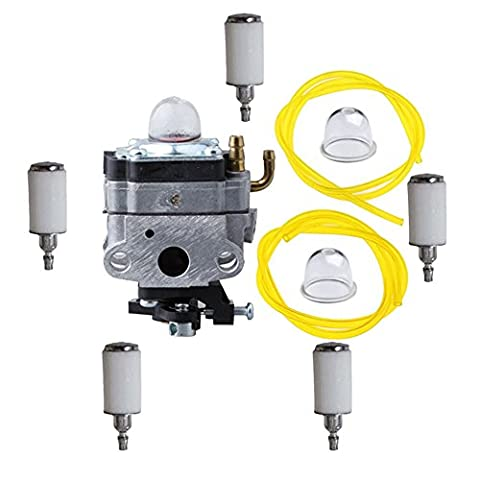 SaferCCTV 753-1225 753-04745 753-04296 Carburetor with Primer Bulb Fuel Line and Fuel Filter for MTD Troy-Bilt Ryobi Yard Man Bolens Trimmer Tiller