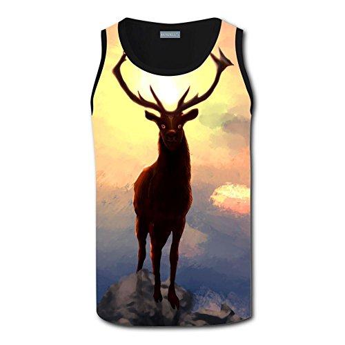 Yshoqq Hipster Tank Tops Men's Mountain Deer Sunset 3D Summer Workout Vest Sleeveless Shirt
