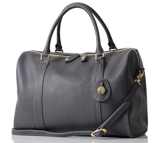 PacaPod Firenze Pewter Designer Baby Changing Bag - Luxury Charcoal Leather 3 in 1 Organising System
