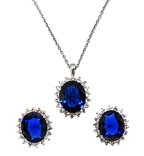 Bijoux De Ja Set of Stainless Steel Created Gemstone Oval Cut Post Earrings and Pendant Chain Necklace 17 Inches (Princess Diana Blue Sapphire) ()