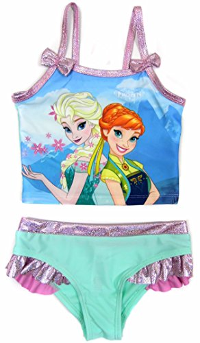 Girls Frozen Elsa And Anna Tankini Swim Wear Costume Ex Store 18-24M Up To 6-7Y (3-4 (Frozen Costume Elsa Uk)