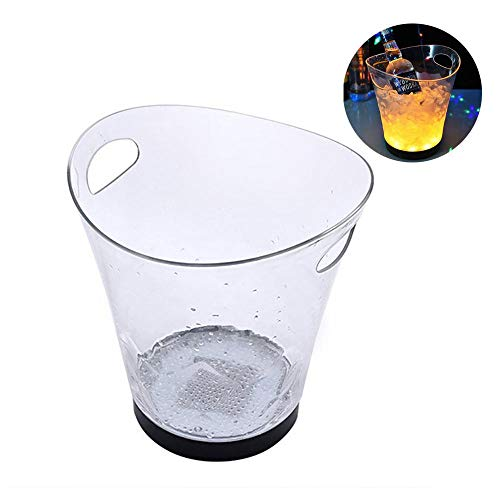 Cooler Wine Oval - LAYOPO LED Ice Bucket, 5 L Large Capacity Oval Wine Cooler with Handles, Durable Champagne Wine Drinks Chiller with Colors Changing for Bars & KTV & Restaurant & Nightclubs & Pub Party