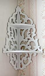 White Pastoral Hollow Wall Hanging Corner Shelf/Lattice Racks