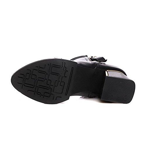 Boots Women's Zipper Top Low Allhqfashion Black Kitten Solid Heels BCpqOK0wd