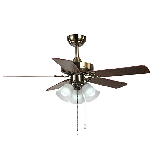 52-Inch Ceiling Fan with Five Dark Cherry / Harvest Mahogany Blades and Swirled Marble Glass Light Kit