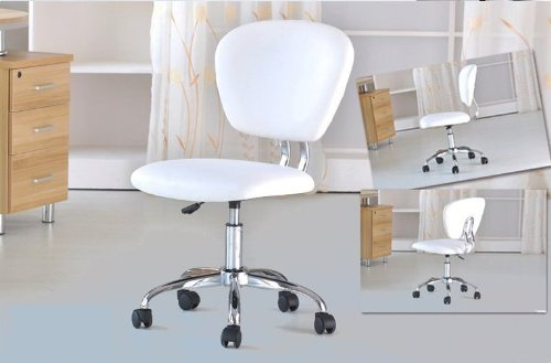 BestOffice PU Leather Mid-Back Office Desk Task Chair, White