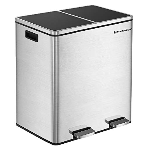 SONGMICS 16 Gallon Step Trash Can, Double Recycle Pedal Bin, 2 x 30L Garbage Bin with Plastic Inner Buckets and Carry Handles, Fingerprint Proof Stainless Steel, Slow Close - Recycling Cans Trash