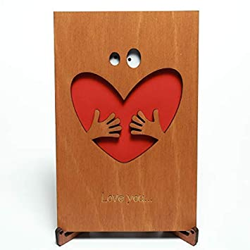 Amazoncom Cute Wood Love Card With Stand Wooden Valentines Day