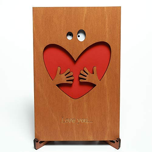 Cute Wood Love Card with Stand. funny