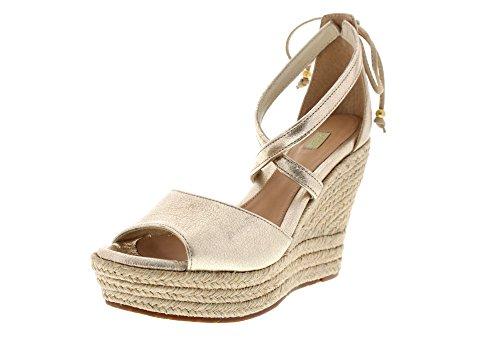 UGG Women's Reagan Metallic Wedge Sandal, Gold, 9 US/9 B US (Gold Metallic Wedge Sandals)