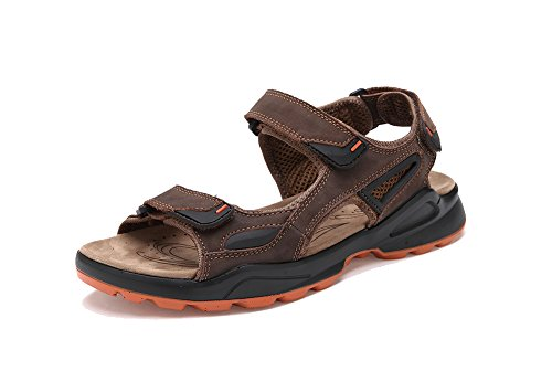 Brown Leather Sport Sandals (Agowoo Women's Open Toe Ankle Strap Beach Hiking Sandals (7.5 D(M) US, Brown))