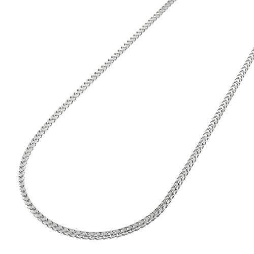 14k White Gold 1mm Solid Franco Square Box Link Necklace Chain 16'' - 24'' (20) by In Style Designz
