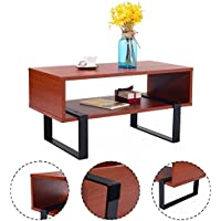Giantex Coffee Table End Table Wood and Metal Modern Home Furniture w/ Open Storage Shelf (Black & Walnut)