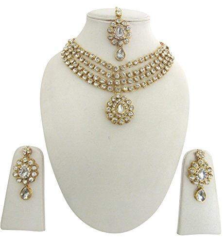 Indian Traditional Gold Tone Kundan Bridal /& Wedding Party Fashion Jewelry Set