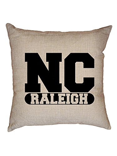 Hollywood Thread Raleigh, North Carolina NC Classic City State Sign Decorative Linen Throw Cushion Pillow Case with - Classic Carolina Sofa North