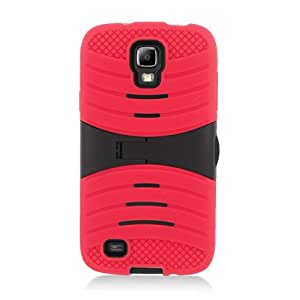 Black Red Hard Soft Gel Dual Layer Cover Case Stand for Samsung Galaxy S4 S IV SIV
