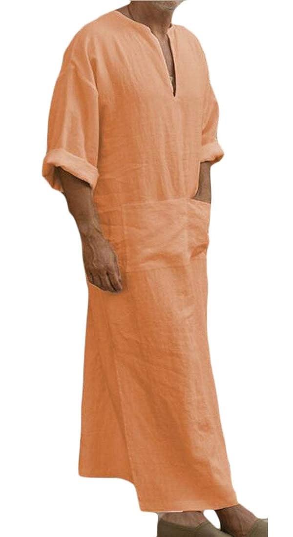 pipigo Mens Plus Size Cotton Linen Long Sleeve Muslim Arab Thobe Caftan Robes Long Shirt Tops