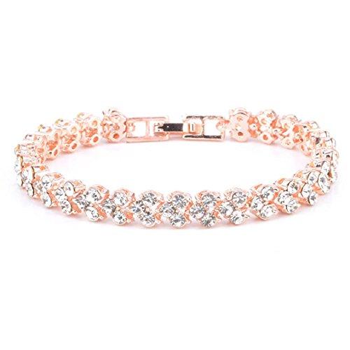 Mchoice New Fashion Roman Style Woman Crystal Diamond Bracelets Gifts (Rose Gold) ()