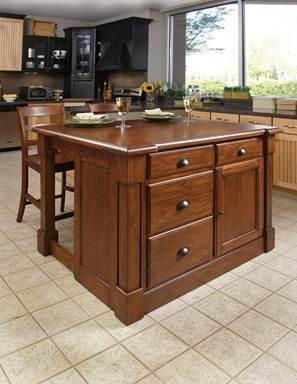 Home Styles 5520-949 Aspen Kitchen Island with 2 Bar Stool, Rustic Cherry ()