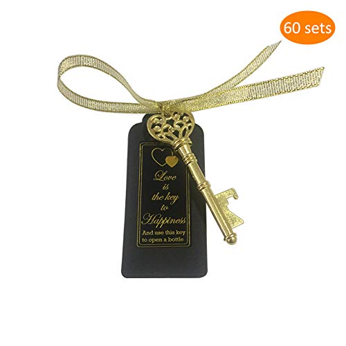 Gold Favor Wedding - Key Bottle Openers 60 packs- with Escort Tag Card, Love is the Key to Happiness Sticker, Wedding Party Favors, Thanksgiving, Baby Shower and Special Events Decoration (Gold Vintage Style)