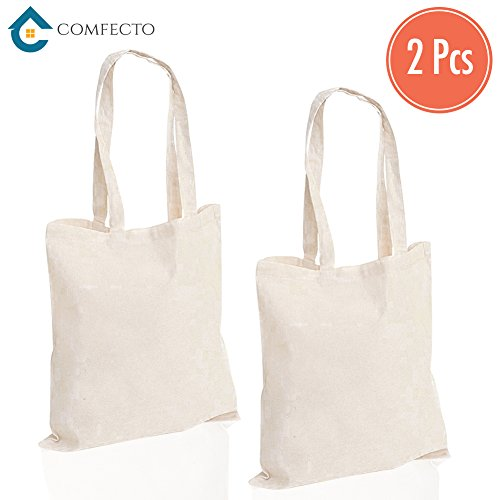 2 Pack Heavy Canvas Cotton Tote Bags – Reusable Grocery Bags with Long Handy Straps – Eco Friendly and Machine Washable Canvas Shopping Bags for Travel Book Art Craft Decorating ()