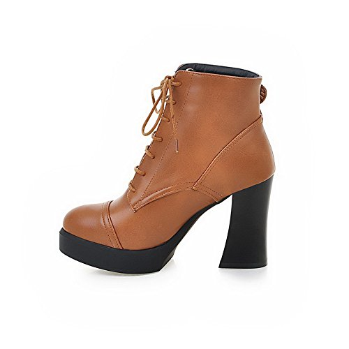 Heels Brown Closed Low Boots AllhqFashion High Top Lace Toe Up Pu Womens Round wgqa076