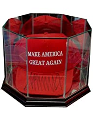 Donald Trump Hat Signed Auto MAGA Make America Great Again Red Hat + Case PSA