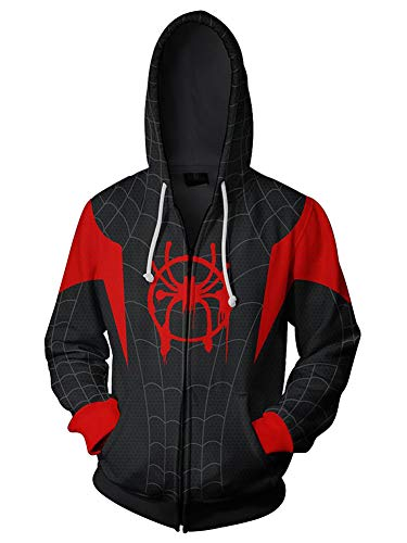Piezone Cosplay Costume Hoodie Unisex Superhero Jacket Hooded Sweater Black, XL