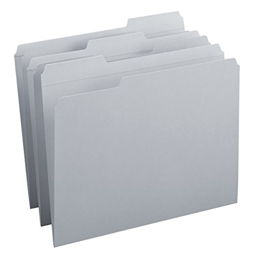 - Smead File Folder, Reinforced 1/3-Cut Tab, Letter Size, Gray, 100 per Box (12334)
