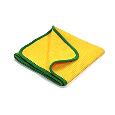 Maxshine 400GSM Crazy Microfiber Waffle Weave Drying Towel with Green Silk Border for Car Detailing, Yellow (60X90cm): Automotive