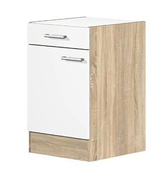 Küchen Unterschrank 50 cm ohne Arbeitsplatte weiss Sonoma Eiche ... | {Küchenschränke ohne arbeitsplatte 7}