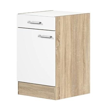 Küchen Unterschrank 50 cm ohne Arbeitsplatte weiss Sonoma Eiche ...