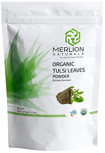 Organic Tulsi Leaves Powder (Ocimum Sanctum)by MERLION NATURALS - 227 g / 8 OZ / 1/2 lb | USDA NOP Certified 100% Organic | Vegan | Non ()